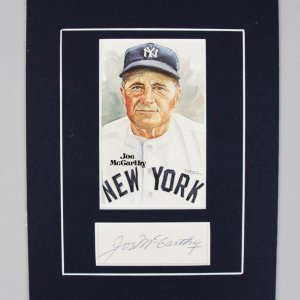 NY Yankees Joe McCarthy Signed Cut in 8x10 Matted Display - COA JSA