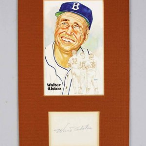 Brooklyn Dodgers Walter Alston Signed Cut in 6x11 Matted Display - COA JSA
