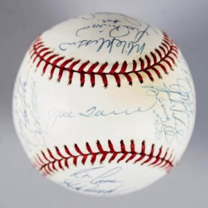 2002 AL East Champs - New York Yankees Team-Signed OML Baseball - 26 Sigs.- JSA Full LOA