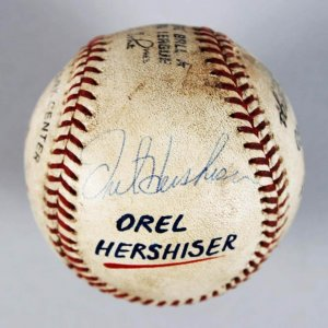 Los Angeles Dodgers - Orel Hershiser Game-Used 100th Win Signed ONL Baseball vs. Cubs - COA JSA