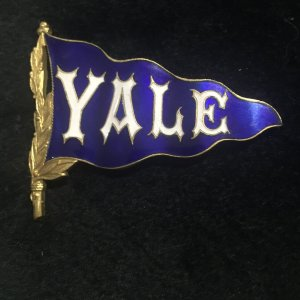 Antique Yale University 1890's Blue Enamel Pin Pennant