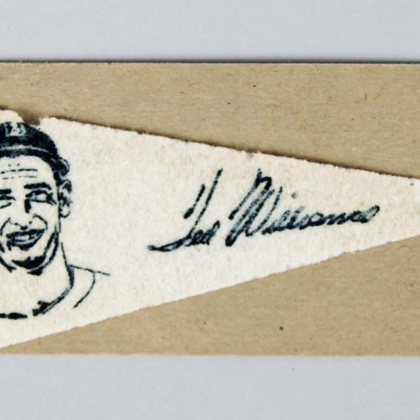 1950 F150 AMERICAN NUT & CHOCOLATE PENNANT TED WILLIAMS &  Advertising Card