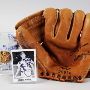 Jackie Jensen Signed Card, MVP Glass, Draper-Maynard Model Glove- COA