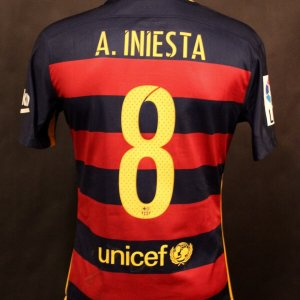 An Andres Iniesta Game-Used & Unwashed #8 FC Barcelona Home Shirt.  2015/16 Spanish La Liga.