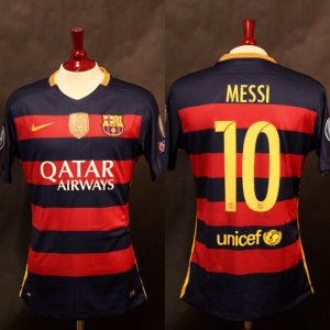 A Lionel Messi Game-Used & Unwashed #10 FC Barcelona Home Shirt.  2015/16 UEFA Champions League.