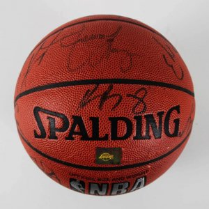1996-97 LA Lakers Team-Signed Official Basketball - Kobe Bryant (Rookie) & Others - Team Letter