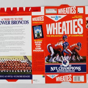 Rare 1988 Denver Broncos Wheaties Box From Factory - Showing as Super Bowl Champs