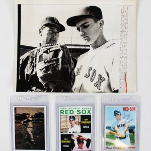 Boston Red Sox Signed Baseball Cards - Ted Williams & Tony Conigliaro +Unsigned 1966 Wire Press Photo JSA COA