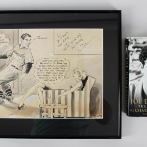Joe DiMaggio Original Cartoon Artwork by Gus Uhlman c.1930 NY Yankees (DiMaggio Family)