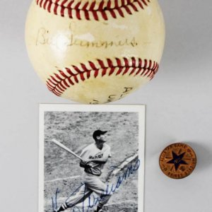'41 All-Star Game Press Pin at Detroit, Signed Ted Williams Card, HR Ticket Stub, Signed Umpire Ball
