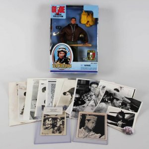 Boston Red Sox - USMC Captain Ted Williams Signed 4.5 x 5 Newspaper Photo, w/ G.I. JOE Action Figure & Wire Photos - JSA