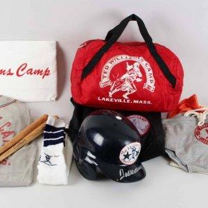 Ted Williams Signed Batting Helmet in Mega Lot of Lakeville Baseball Camp Items - JSA