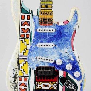 Shari Belafonte Signed Heart Strings Original Hand Painted Art Guitar LE 1/1 – JSA