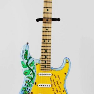 Foot Loose - Kevin Bacon Signed Heart Strings Original Hand Painted Art Guitar LE 1/1 – JSA