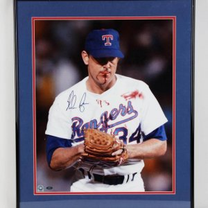 "Nolan Ryan Texas Rangers Signed 16x20 ""Bloody Lip"" Fight Photo Display - COA Player Hologram"