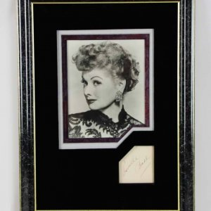 I Love Lucy - Lucille Ball Signed 3x3 Cut in 17x23 Photo Display - JSA
