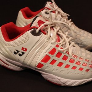 A Pair of Stan Wawrinka Game-Used Custom Yonex Tennis Shoes.  2014 US Open.