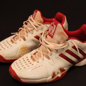 A Pair of Novak Djokovic Game-Used Custom Adidas Tennis Shoes.  2016 French Open (Men's Singles Champion).