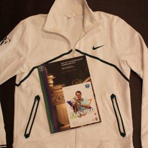 A Roger Federer Game-Used Custom Nike Tennis Jacket, Programme & Signed Card.  2011 Wimbledon.