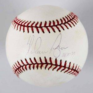 Nolan Ryan Texas Rangers Signed & Inscribed OAL Baseball - COA Steiner & MLB