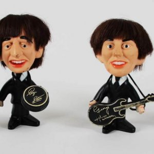 1964 Beatles Soft Body REMCO Dolls with Hair & Instruments Set - John, Paul, Ringo & George