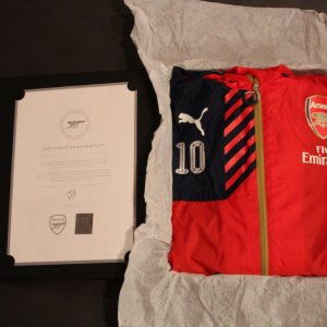 A Jack Wilshere Game-Used Arsenal FC Rain Jacket (2015/16 Season).  Arsenal Club COA & Presentation Box.