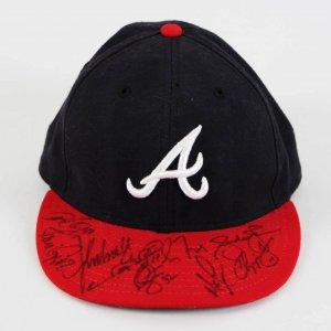 Greg Maddux, Chipper Jones, John Smoltz etc. (9) Signed Atlanta Braves Baseball Hat Cap - JSA