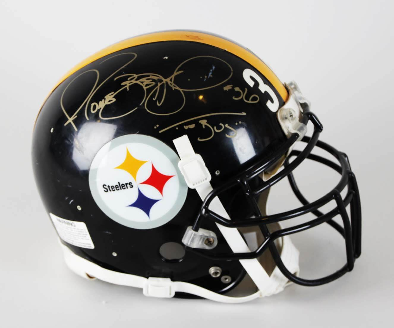hot sale online 0f56e d9557 Jerome Bettis Signed Pittsburgh Steelers Game-Worn Helmet w/Inscriptions -  JSA
