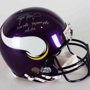Brett Favre Signed Authentic Full Size Minnesota Vikings Helmet w/Inscriptions (Player Hologram)
