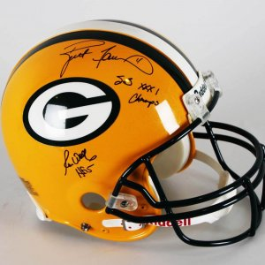 Brett Favre & Ron Wolf Signed, Inscribed Green Bay Packers Super Bowl XXXI Authentic Game Style Helmet