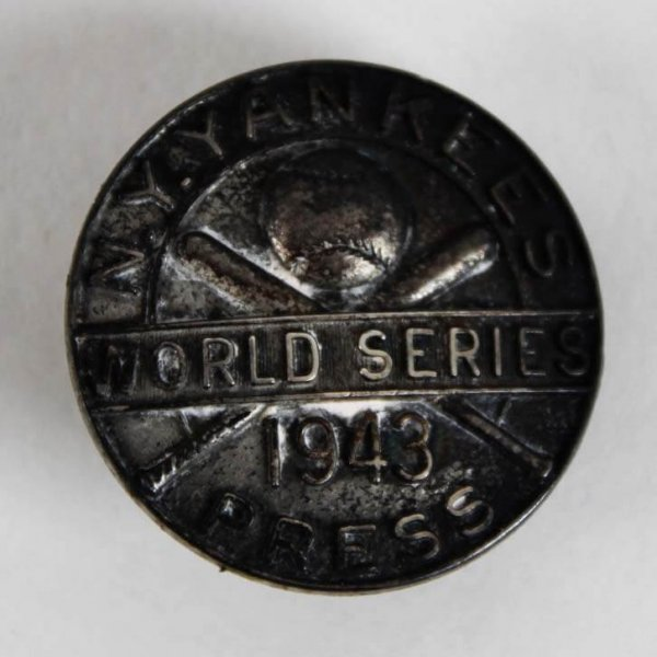 1943 New York Yankees 14th World Series Media  Dieges & Clust Press Pin NYY