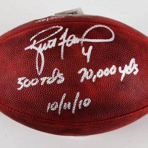 Brett Favre Signed Minnesota Vikings ONFL Football w/Historic Inscriptions Favre Hologram