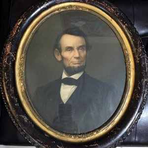ABRAHAM LINCOLN PRESIDENT Oval Print Lithograph By K.C. Middleton 1864 Antique RARE!