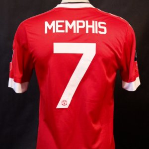 A Memphis Depay Game-Used #7 Manchester United FC Home Shirt.  2015/16 FA Cup (Winners).