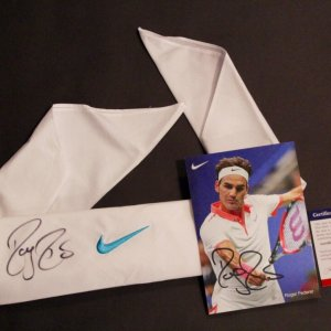A Roger Federer Game-Used & Signed Custom Nike Bandana.  2010 Australian Open (Men's Singles Champion).