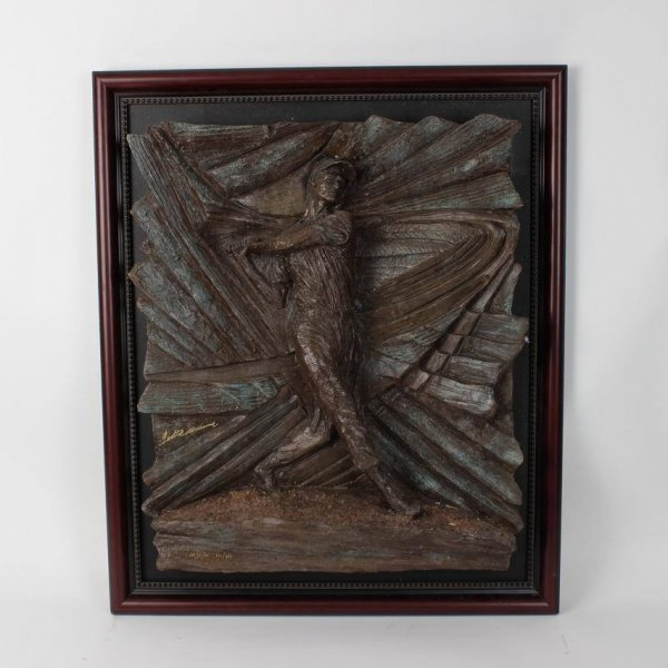 Artist Paul Kamish Tribute To Boston Red Sox Ted Williams.406 Sculpture Bronze LE 121/406