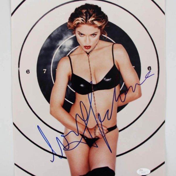 Madonna Signed Posing in Black Leather 11x14 Photo - JSA Full LOA