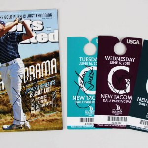 Jordan Spieth Signed Golf SI Magazine & (3) Parking Passes - COA JSA