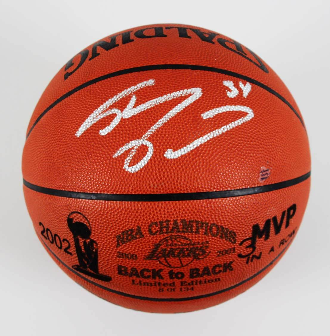 2002 Shaq Signed LE 8/134  Back To Back Lakers Official Stern Basketball - COA JSA