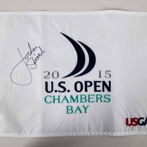 Jordan Spieth Signed 2015 US Open at Chambers Bay Golf Pin Flag - JSA Full LOA