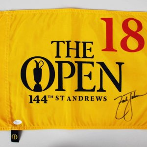 "Zach Johnson Signed PGA ""The Open"" Golf Pin Flag - COA JSA"