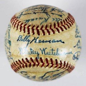 1947 Pittsburgh Pirates Team Signed ONL (Frick) Spalding Baseball Hank Greenberg,Ralph Kiner(No Cluhouse)