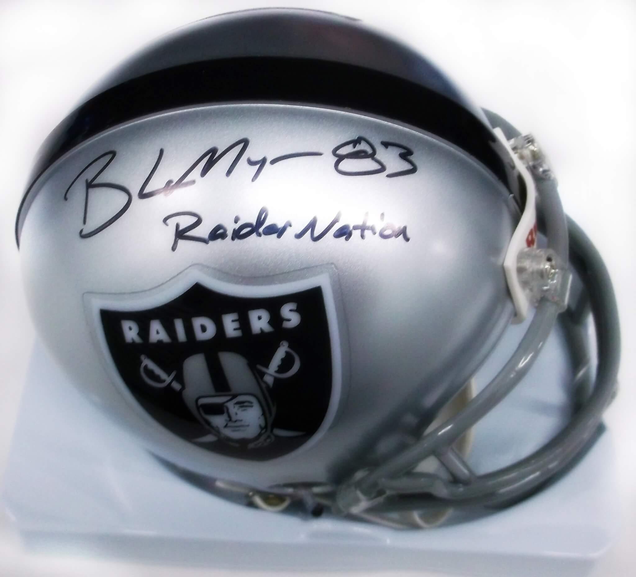 Oakland Raiders Brandon Myers signed inscribed mini helmet