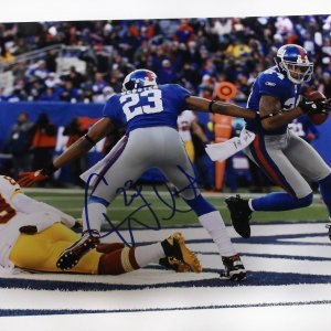 Corey Webster signed New York Giants 11x14 photo vs Redskins