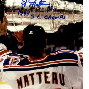 New York Rangers Stephane Matteau signed insc. 11x14 photo