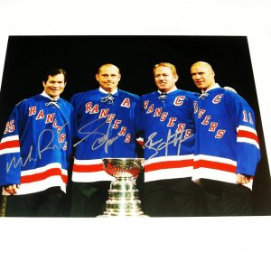New York Rangers Triple signed 11x14 photo