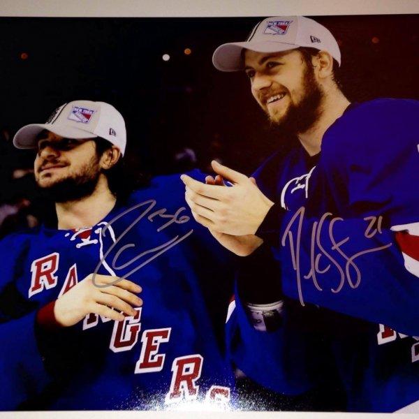NY Rangers Derek Stepan/Mats Zuccarello dual signed 11x14 photo