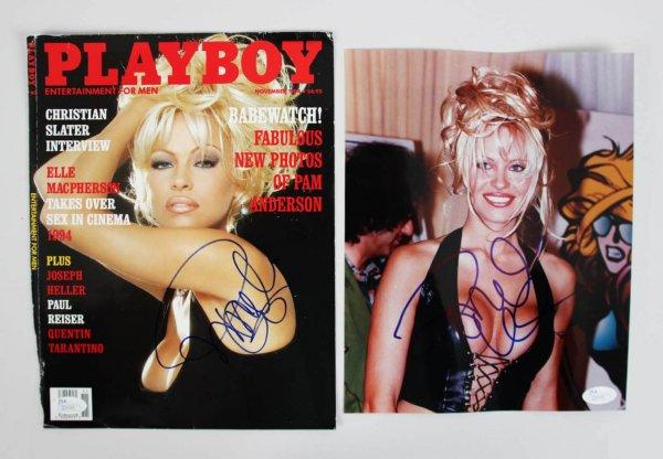 Pamela Anderson Signed Photos (2) - COA JSA