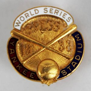 1938 World Series  New York Yankees Dieges & Clust  Press Pin