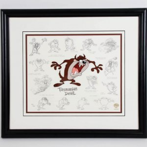 1994 Tasmanian Devil LE 214/750 22x25 Model Sheet Animation Display - COA